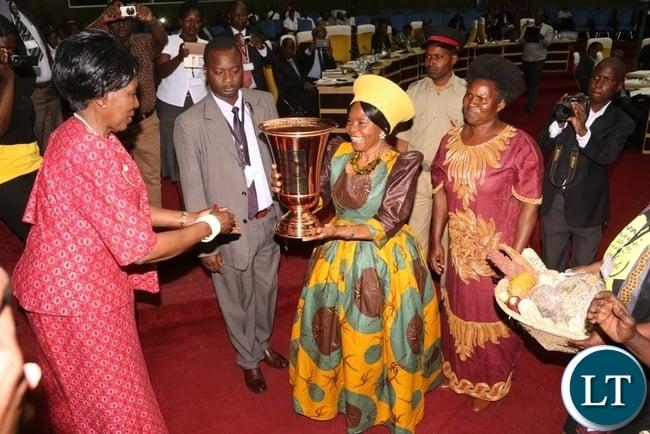 Acting President Inonge Wina Receives Award from PELUM on Behalf of President Edgar Lungu, Delivering the Award Senior chiefteness Nkhomesha Mukamambo