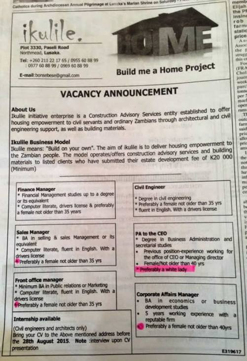 Job advert in the Post Newspapers (2)