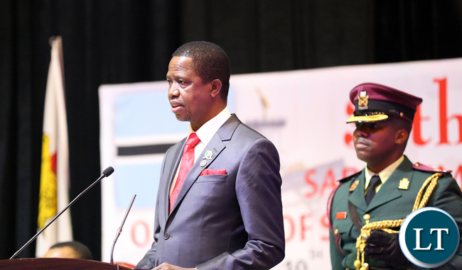 President Edgar Chagwa Lungu (right) presents his maiden speech at the 35th Ordinary Summit of the Heads of State and Government in Gaborone, Botswana on Monday, August 17,2015. PICTURE BY SALIM HENRY/STATE HOUSE © 2015