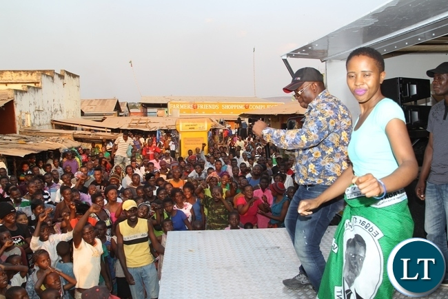 President's daughter Tasila and Kasama constituency aspiring candidate KELVIN sampa take to the dance floor to dance to pf songs during an introduction rally of the newly adopted  aspiring candidate for Kasama.