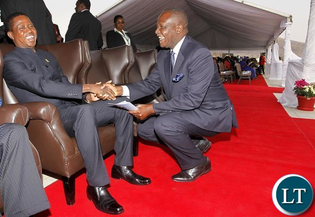 President Edgar Chagwa Lungu (left) welcomes Lunte Member of Parliament Felix Mutati at Heroes' Acre National Monument where Heroes Day Commemoration and Interment of Human Remains of the three Veterans of the Liberation Struggle of Namibia were buried on Wednesday, August 26,2015. PICTURE BY SALIM HENRY/STATE HOUSE ©2015