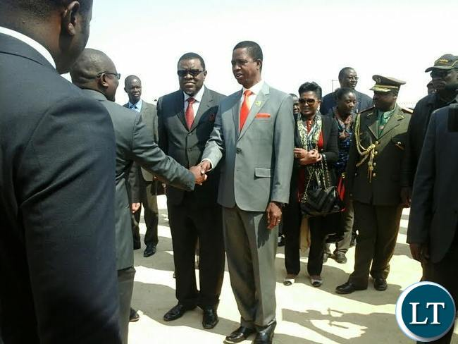 President Edgar Lungu with Namibian counterpart Hage Geingob on arrival at a mining plant Pictures