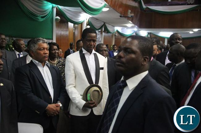 President Edgar Lungu (R) with Agriculture Minister Given Lubinda (L) during the ''Meet the President Fundraising Dinner''at Mulungushi International Conference Centre,