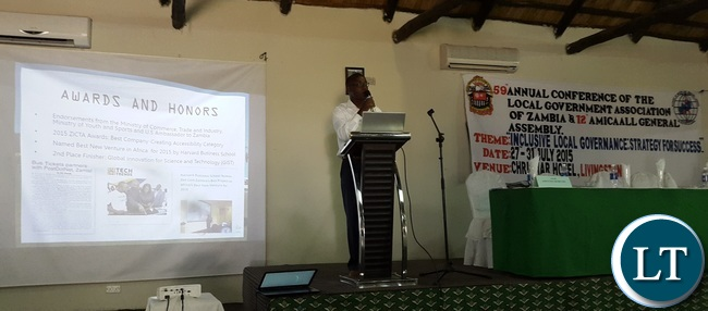 icture Credit L/R: Mawano Kambeu speaking at the 59th Local Government Association of Zambia annual conference