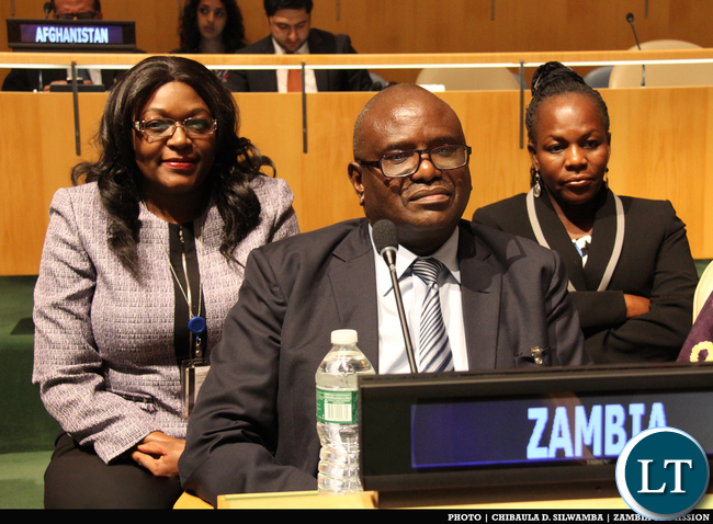 Speaker of the National Assembly of Zambia the Right Honourable Justice Patrick Matibini (centre), Permanent Representative to the UN Mwaba Kasese-Bota (left) and deputy Permanent Representative Christine Kalamwina at the Fourth World Conference of Speakers of Parliament at UN Headquarters in New York, USA on 2 September, 2015. PHOTO | CHIBAULA D. SILWAMBA | ZAMBIA UN MISSION
