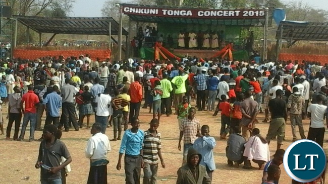 Scores of people, mainly youths, watch the cultural performances at the 15th Annual Tonga Music Festival on Saturday in Monze hosted by Chikuni Radio