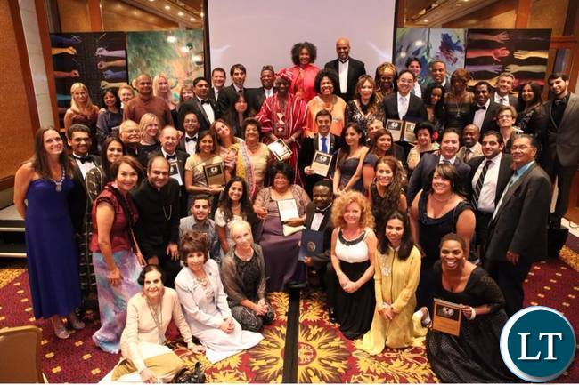 Justina Mutale in a group photos with other distinguished recipients of the Global Officials of Diginity (G.O.D) Awards at the United Nations Headquarters in New York.