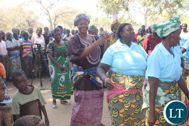 President Nawakwi joins the dance as she is welcomed at Kandabwako.