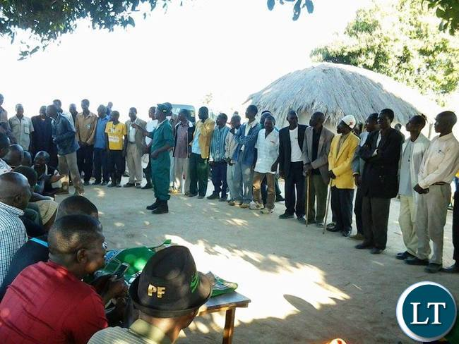Some village headpersons who attended a public meeting of the Patriotic Front in Nthithimila ward in Lundazi District on Saturday.