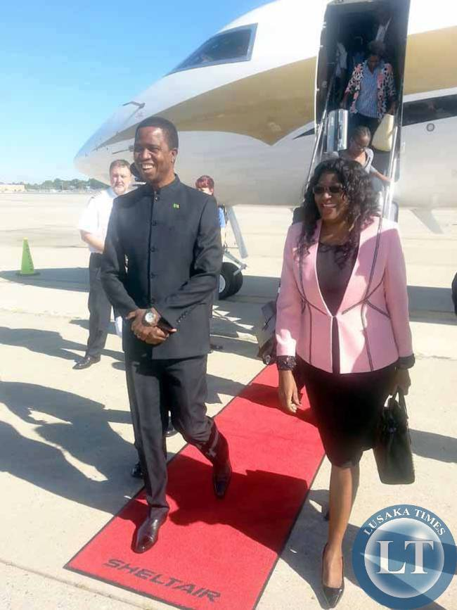 President Lungu disembarks from a chartered private plane