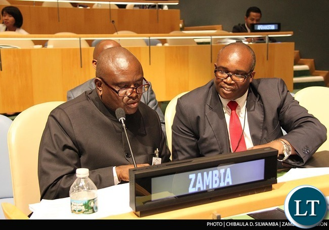 Speaker of the National Assembly of Zambia Dr Patrick Matibini, his executive assistant Roy Ngulube and Zambia UN Mission Counsellor (Political and Administration) Silvester Mwanza at the Fourth World Conference of Speakers of the Parliament at UN Headquarters in New York on Monday  31stAugust 2015. PHOTO   CHIBAULA D. SILWAMBA   ZAMBIA UN MISSION