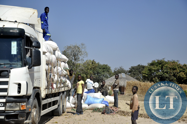 File:Peasant farmers load their maize into a truck before transportation to an FRA depot in chief Mulala's area. Agriculture faces manay challenges in the area and this fuels poverty