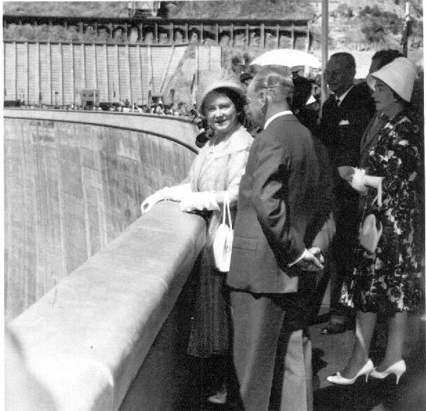 Sir Duncan with Her Majesty Queen Elizabeth the Queen Mother at the official opening of the Kariba Dam. Tuesday 17th May 1960.