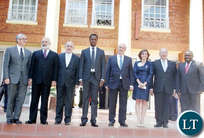 President Edgar Chagwa Lungu pose for a photograph with Ambassadors/High Commissioners designate to Zambia after they presented credentials at State House on Thursday, September 17,2015. The Ambassadors/High Commissioners are: (RIGHT) Mr. Filipo Scammacca Del Murgo E Della'agnone (Republic of Italy), Mrs Alicia Moral Revilla (Kingdom of Spain), Mr. Leonidas Contovounesios (Hellenic Republic of Greece) and (LEFT) Mr Mohammed Aminnejad (Islamic Republic of Iran), Mr. Asaf Khan (Islamic Republic of Pakistan), Mr Gershon Kedar (State of Israel) -Picture by THOMAS NSAMA/STATE HOUSE
