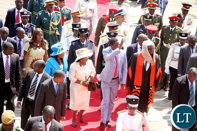 President Lungu with First Lady Esther Lungu and the Speaker of the National Assembly Patrick Matibini on arrival for the official opening of the Fifth Session of the Eleventh National Assembly on Friday, September 18,2015 -Picture by THOMAS NSAMA