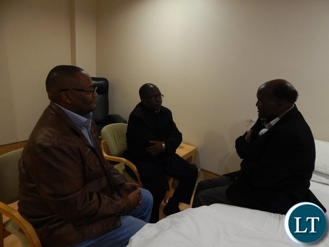 Zambia's High Commissioner - Designate to South Africa, His Excellency Mr. Emmanuel Mwamba (left), with Foreign Affairs Deputy Minister, Mr. Rayford Mbulu, visiting Lusaka businessman, Mr. Edgar Ngoma at Morningside Clinic in Johannesburg, South Africa on 5th September, 2015