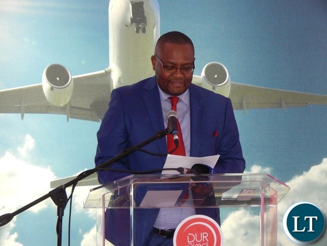 Zambia's High Commissioner to South Africa, His Excellency Mr Emmanuel Mwamba delivers his speech as Guest of Honour at the launch of the Proflight Zambia flight to Durban from Lusaka on Monday, 21st September, 2015. PICTURE BY NICKY SHABOLYO
