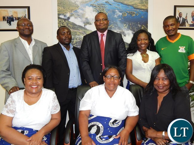 Zambia's High Commissioner - Designate to South Africa, His Excellency, Mr. Emmanuel Mwamba with members of the Zambian Catholic Community in South Africa in his office