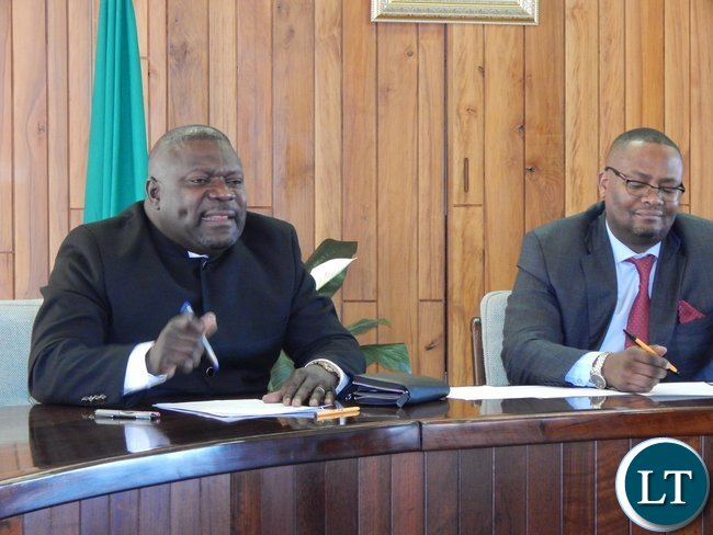 Mr. Mulusa and His Excellency Mr. Mwamba during the meeting