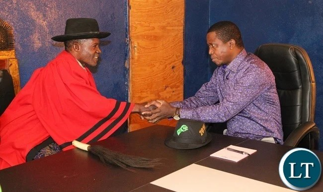 President Edgar Lungu is welcomed by Chief Matebo when he paid a courtesy call on him at his palace Solwezi West.