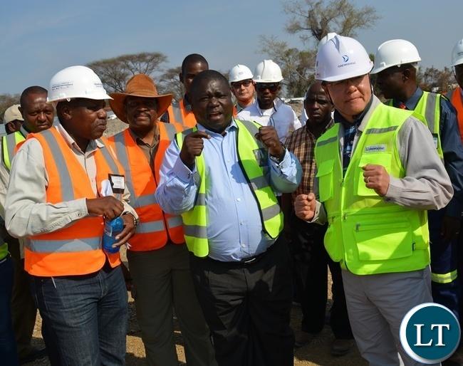 FROM FAR LEFT: Kazungula Bridge team leader Kobamelo Kgoboko, Botswana Minister for Transport and Communications Tshenolo Mabeo , Zambia's Transport, Works, Supply and Communication Minister Yamfwa Mukanga and Kazungula Bridge project manager William Kim (far right) during an inspection of Kazungula Bridge project
