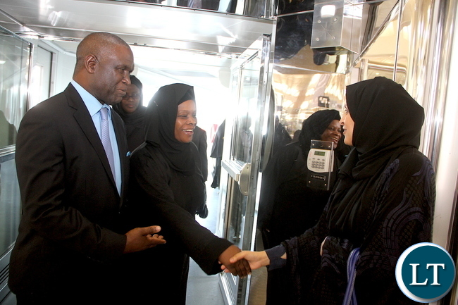 First Lady Esther Lungu being welcomed by Ministry of Health General Supervisor of International Relations Hessa AL Motairi (r) on arrival at Riyadh King Khalid International Airport. The on Sunday, October 11,2015. The First Lady is in Saudi Arabia at the Invitation of the Ministry of the Health of the Kingdom of Saudi Arabia and Her Royal Highness Princess Latifa Bint Abulaziz Al-Saud the Spouse of His Excellency the President of the Kingdom of Saudi Arabia -PICTURE BY THOMAS NSAMA/STATE HOUSE