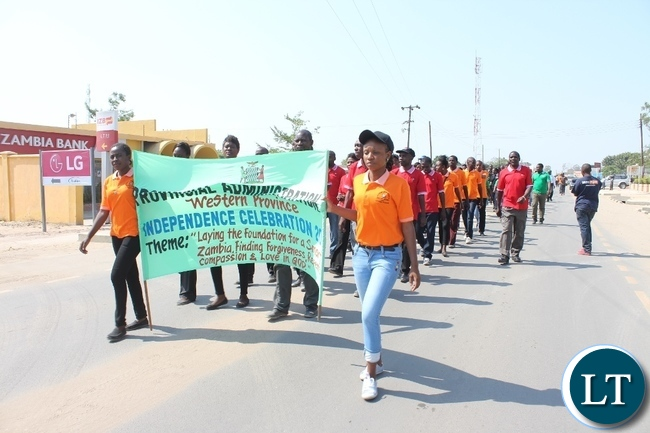 Matchers during the 51st Independence Anniversary celebrations in Mongu District