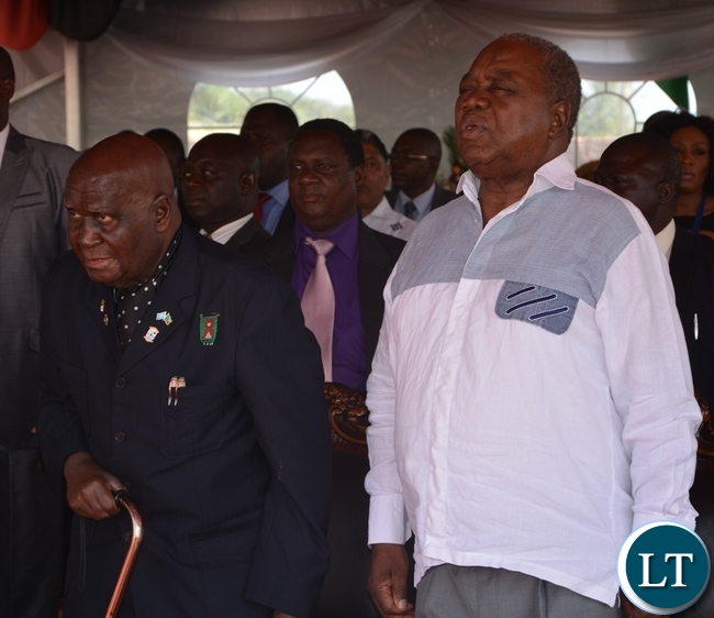 First President of Zambia Kenneth Kaunda and Fourth president Rupiya Banda joined the church service at the ground breaking ceremony for new cathedral and interdenominational thanksgiving church service for Zambias 51st independence anniversary yesterday, 25-10-2015. Picture by Ennie Kishiki/ZANIS.