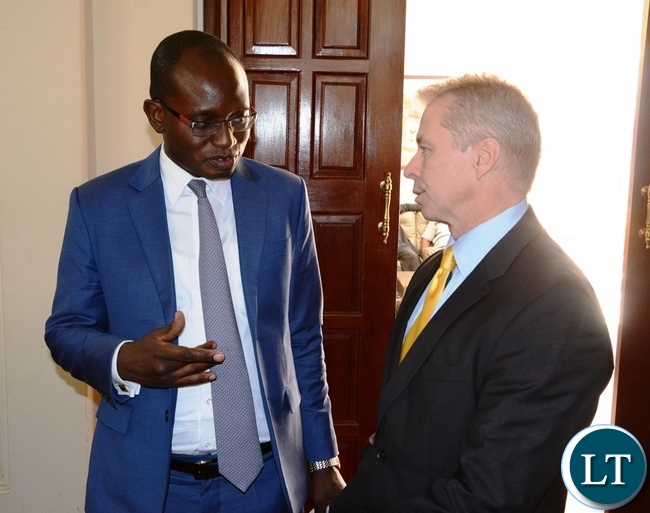 Special Assistant to the President Amos Chanda Welcome's USA ambassador Eric Shultz at State House
