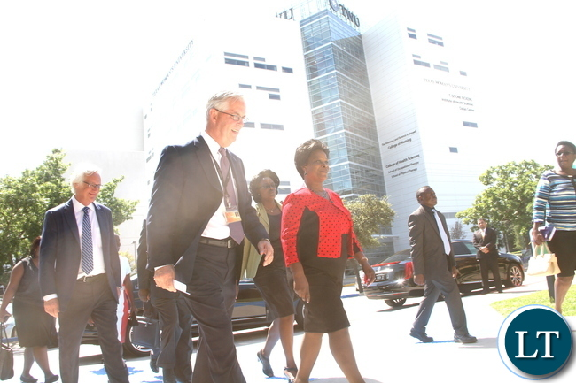 First Lady Esther Lungu flanked by  Executive Directorship  Sara T. Martineau Profess in Communication Disorders school of Behaviral and Brain Sciences on arrival  for a tour of  Callier Center in Dallas Texas on Wednesday, September 23,2015. The Callier  hearing and speech center is dedicated to the welfare of all persons from young to the oldest who suffer difficulties in communications -Picture by THOMAS NSAMA