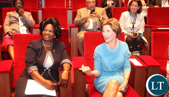 First Lady  Esther Lungu  with USA Former First Lady Laura Bush during the Global Network Women's Summit at  George W. Bush Presidential Centre in Dallas, Texas on Tuesday, September 22,2015 -Picture by THOMAS NSAMA