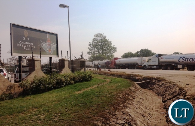 Fuel tankers lined up along the roads surrounding the Zambian Breweries plant,
