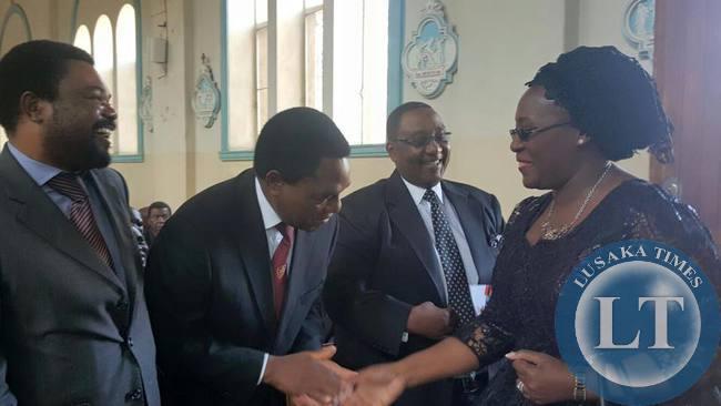 UPND president Hakainde Hichilema greets former first lady Dr.Christine Kaseba
