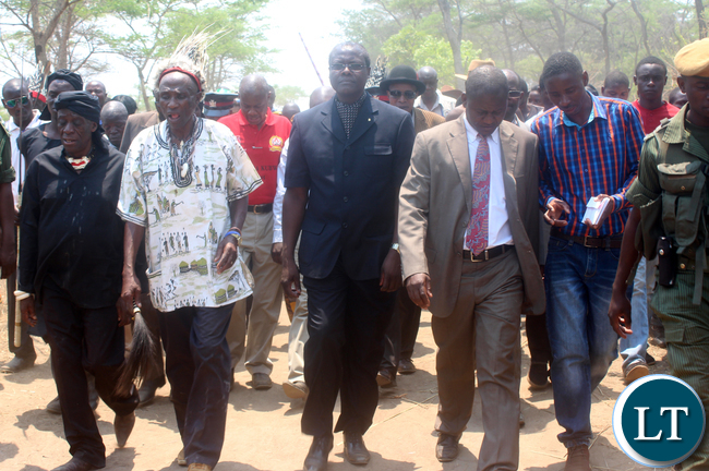 (L to R )Senior Chief Mukuni,Senior Chief Mukuni Ng'ombe ,Justice Minister Ngosa Simbyakula and Central Province Minister Davis Chisopa walk to the main arena during the Kulamba Kubwalo traditional ceremony in Chibombo district