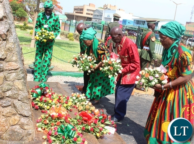 Kabwe based freedom fighters laying wreaths at Kabwe civic centre during this year's Independence day celebrations