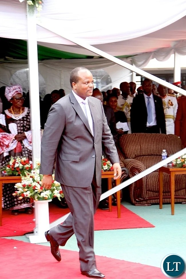 King Mswati of Swaziland heads to deliver his speech during Zambia's 51st Independence anniversary Celebration at Heroes Stadium in Lusaka on Saturday, October 25,2015 -Pictures  by   THOMAS NSAMA