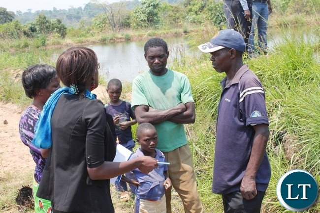 Mbala SUN Programme Coordinator, Krysterbel Nankamba encouraging fish farmers to embrace the programme as theirs for its sustainability