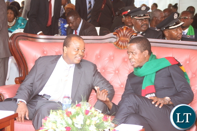 President Lungu with his Guest King Mswati of Swaziland