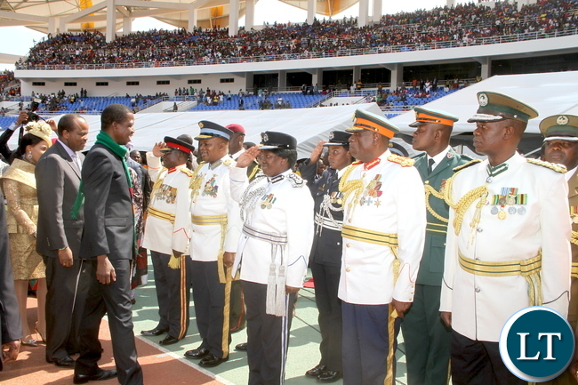 Service Chiefs salutes President Edgar Chagwa Lungu and King Mswati of  Swaziland  during  Zambia's 51st  Independence Day celebrations at Heroes Stadium  in Lusaka on  Saturday, October 24,2015 -Pictures by THOMAS NSAMA