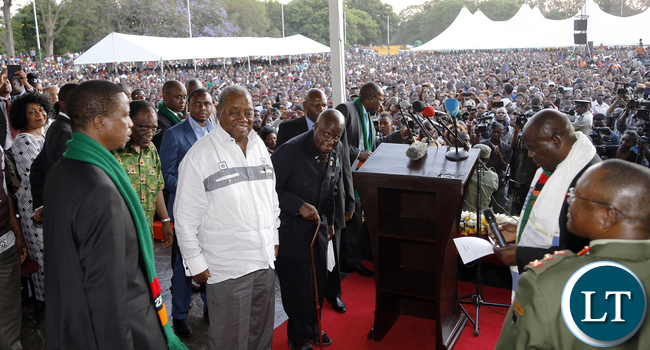 President Edgar Lungu, Dr Kenneth Kaunda and Former President Rupiah Banda at the National Prayer, Fasting & Reconciliation at the showgrounds in Lusaka.- Picture By Eddie Mwanaleza/Statehouse.