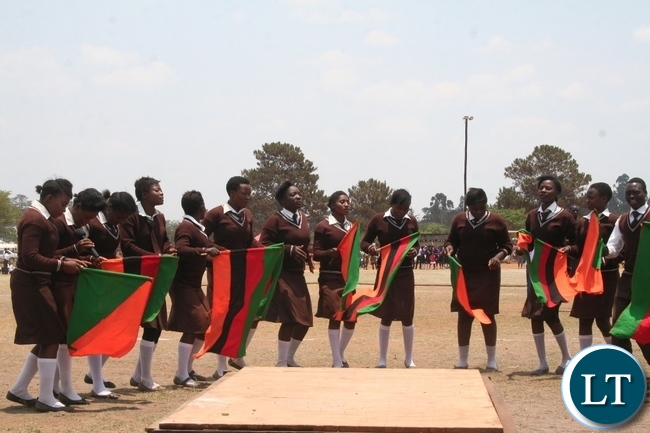 Kyawama secondary school choir singing an independence song during the 51st Zambia 's Independence celebrations at Solwezi stadium in Solwezi