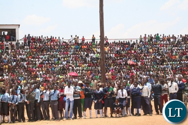 Part of the crowd that attended 51st Zambia 's Independence celebrations at Solwezi stadium in Solwezi