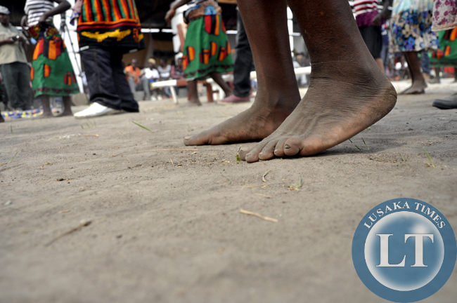 Traditional dancers thump the ground in dance during the Mukulapembe Traditional Ceremony in Luwingu recently