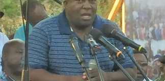 Copperbelt Minister Mwenya Musenge speaking at a Youth Rally at Freedom Park