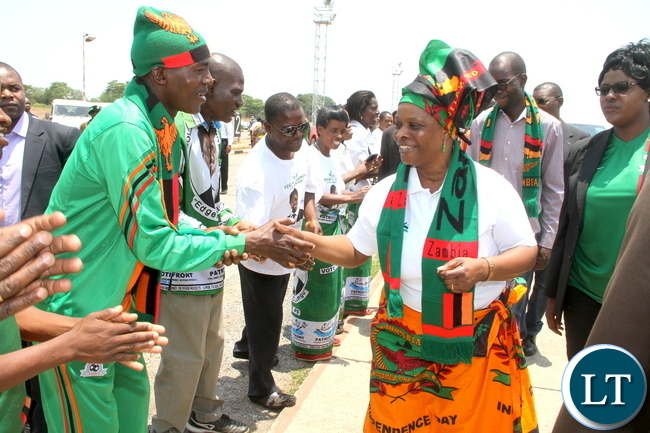 First Lady Esther Lungu on arrival at Simon Mwansa Kapwepwe for Zambia verses Sudan match on Sunday, November 15,2015 -Picture by THOMAS NSAMA