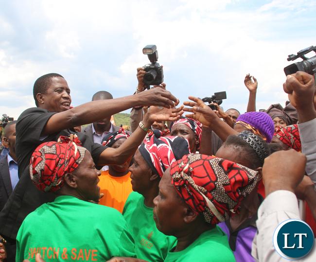 President Edgar Lungu greetings some ladies from Kafue Gorge Lower.