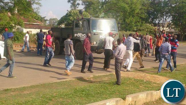 Luanshya residents demonstrating against police intimidation