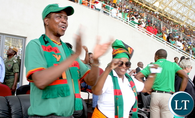 President Lungu and First Lady celebrate a Goal