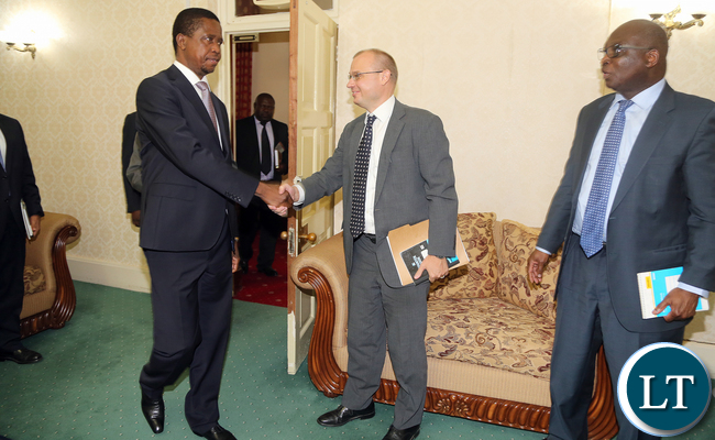 President Edgar Lungu held meeting with An International Monetary Fund (IMF) team led by Tsidi Tsikata who is division chief African department in Washingston and Mr Tobis Nybo Rasmussen IMF Resident Representative in Lusaka at State house. Picture By Eddie Mwanaleza/State house.20-11-2015.