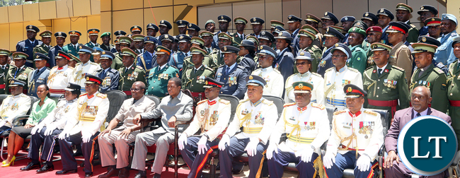 President Lungu Pose with Defence College Staff